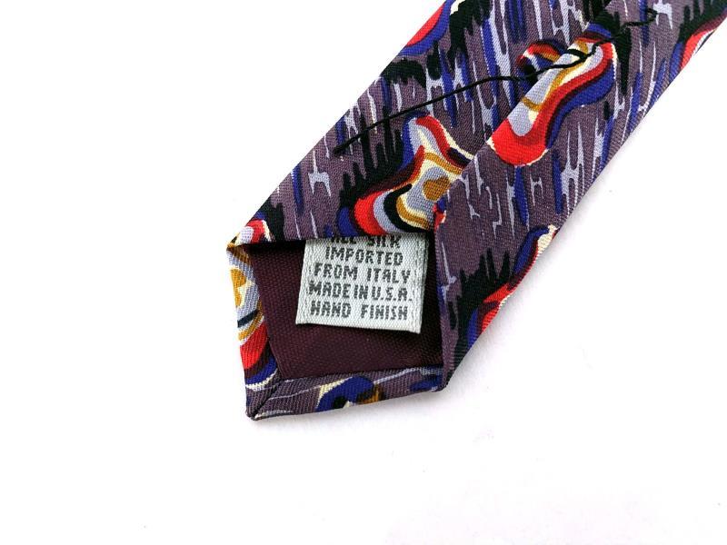 BILL ROBINSON Robin Son Silk Neck Tie Abstract Pattern Retro Purple Squares