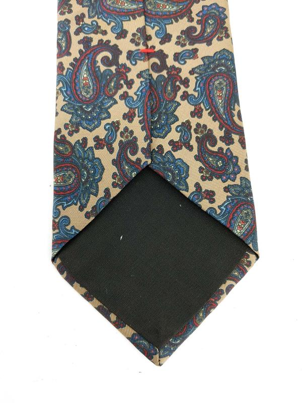 LORD AND TAYLOR Man's Shop Neck Tie Taupe with Blue and Red Paisleys 100% Silk