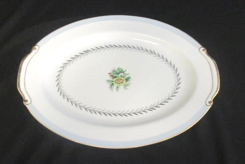 Lot of 2 Fuji China Island Wreath Serving Plate Vegetable Dish Floral Gold Rim