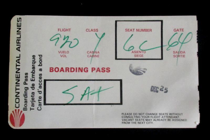 Continental Airlines Vintage Boarding Pass Flight 920 Class Y Seat 6C Sat Dec 25