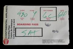 Continental Airlines Vintage Boarding Pass Flight 920 Class Y Seat 6C Sat Dec 25