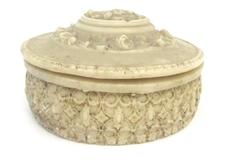 Vintage Trinket Dish With Lid Greek Cameo Floral Beige Powder Jar