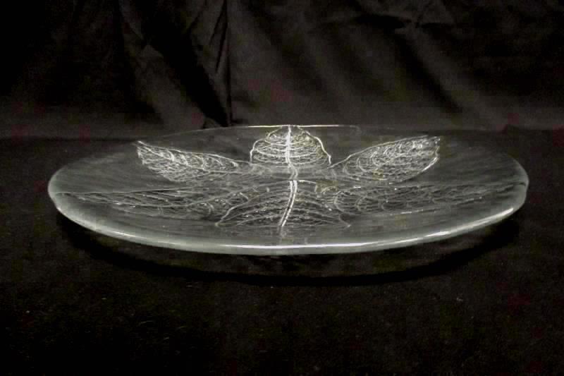 Dansk Vintage Textured Clear Press Glass Serving Plate Platter 13in Leaf Pattern