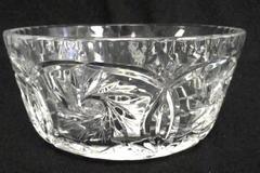 Vintage Clear Pressed Glass Bowl Starburst Etched Star Detail Floral 7in