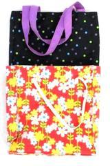 Lot of 2 Girl's Reusable Tote Bag Purse Gymboree Pink Floral Canvas Purple Dots
