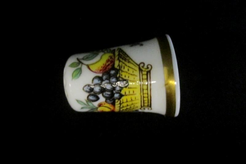 Crown Staffs England Fruit Basket China Vintage Thimble White Painted Gold Tone
