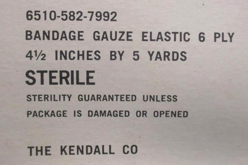 """Lot of 2 Kendall Co Vtg Bandage Gauze Elastic 6 Ply 4.5"""" X 5 Yards Original Box"""