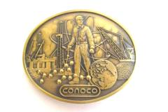 Vintage Conoco Oil Company Brass Belt Buckle Crane World Roughneck 2.5 Inch