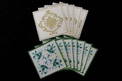 Lot of 12 Vintage Hallmark Coasters Green And Blue Holly And Gold Floral Light