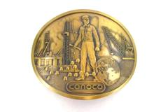 Vintage Brass Belt Buckle Conoco Oil Company Crane World Roughneck