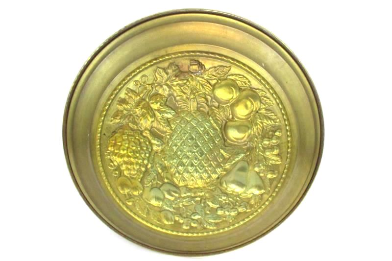 Brass Wall Hanging Round 16 Inches Decorative Fruit and Vegetable Design England