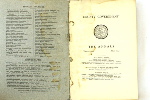 May 1913 County Government Annals American Academy of Political Social Science