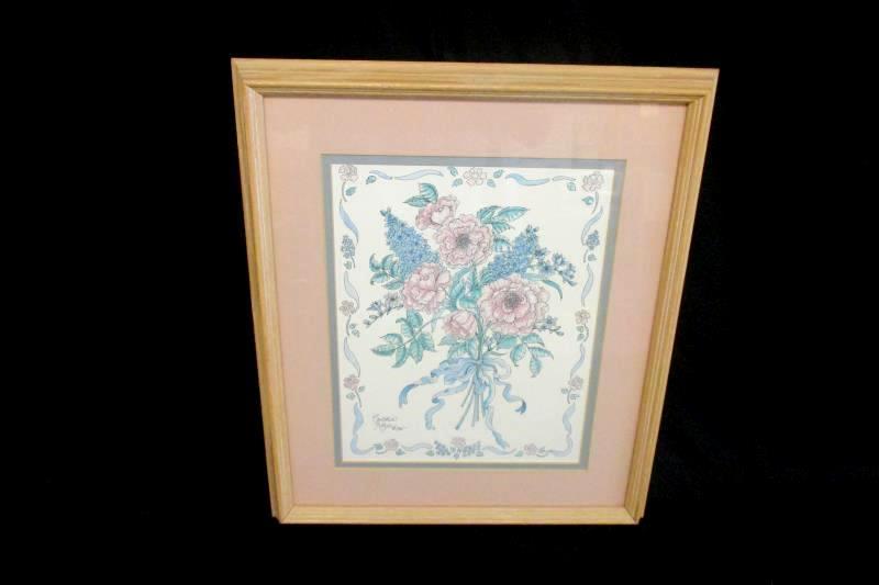 Oak Framed Matted Cynthia Kilzer 1985 Floral Litho Print Pink Blue Teal 18X15 In