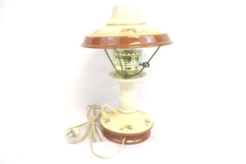 Vintage Ceramic Table Lamp Faux Oil Electric Leaf Print Cream Brown