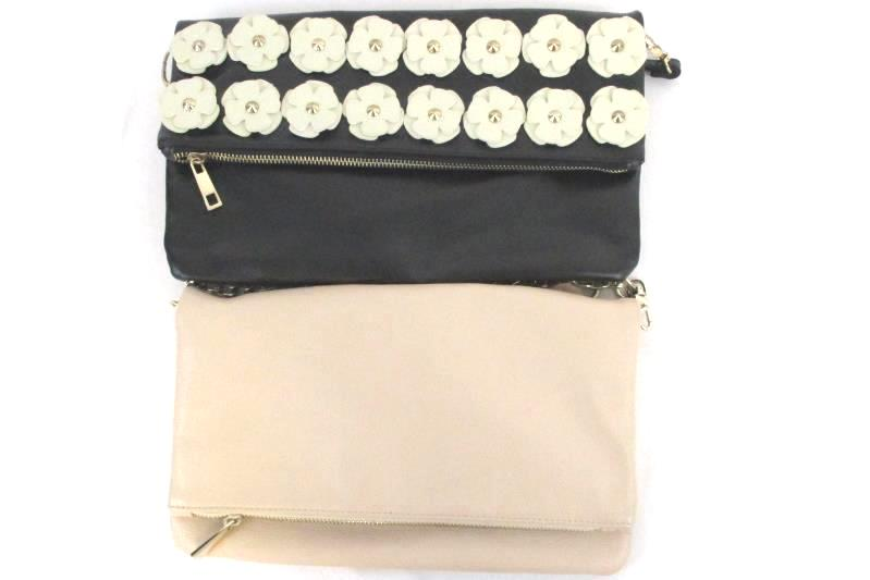 Lot of 2 Fold Over Magnetic Faux Leather Purses Express Cream Black Stud Flowers
