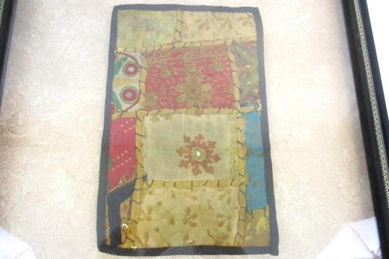 Antique Indian Bajara Embroidered Patchwork Tapestry Framed Floral Sequins