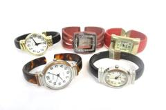 Lot of 5 Women's Cuff Band Wrist Watches Xanadu Eikon Geniva For Parts Repair