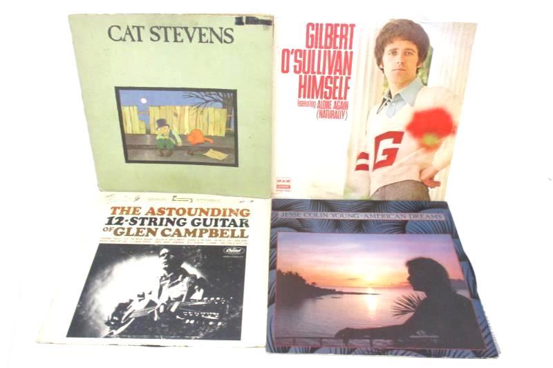 Lot of 4 Folk Rock LP Records Cat Stevens Glen Campbell Gilbert O'Sullivan Young