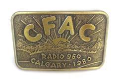 Vintage 1980 Century Belt Buckle Bronze CFAC Radio 960 Calgary Canada