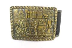 Vintage Bronze Belt Buckle Synek Tamarron Durango Colorado USA