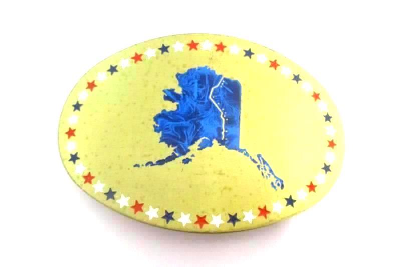 Vintage Kandu Corp Solid Brass Hand Detailed Alaska Belt Buckle USA