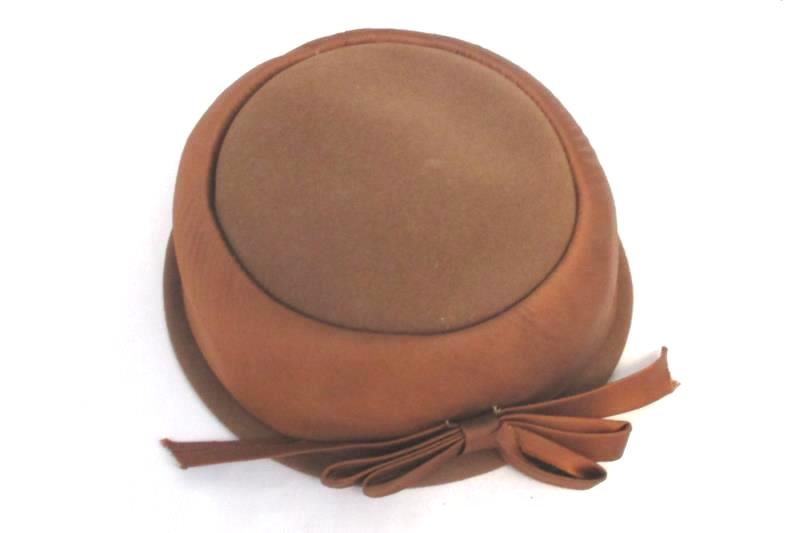 Vintage Brown Original Chapeaux Louise Womens Hat Size Large Wool Satin