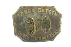 Vintage Lewis Buckles Belt Buckle Chicago Larry Gatlin Is My Biggest Fan Brass
