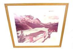 Peyto Lake Vintage Wood Framed Photo Print Canadian Rockies 31.5 X 27.5 Inches