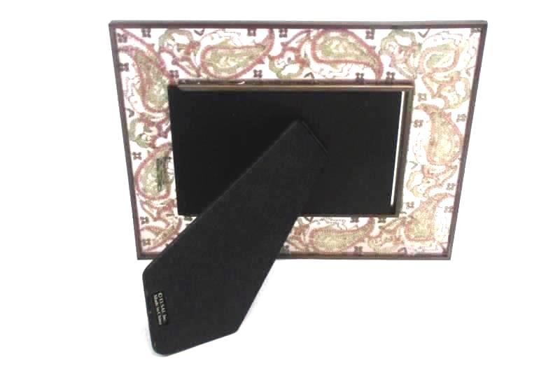 Elsa L Glass Photo Frame Brown Pink Gold Paisley Embroidered Freestanding
