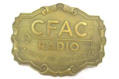 Vintage 1970s Brass Belt Buckle CFAC Radio First In Calgary