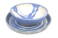 Lot of 2 Handmade Glazed Ceramic Pottery Bowl Planter Plate Blue White USA
