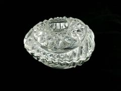 Egg Candy Dish or Trinket Box Clear Diamond Cut Glass Knick Knack