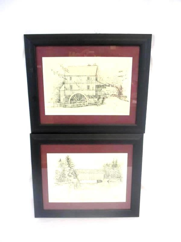 Lot of 2 Clark M Goff Prints Old Sturbridge Village Black Frame 1974
