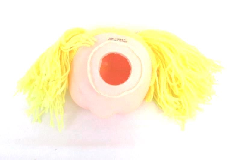Baby Toothie 1984 Carlo CK Chien Plastic Doll Head Yellow Yarn Hair Blue Eyes