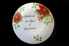 ATICO China Plate Celebrate The Magic of Christmas Poinsetta Holly Berries