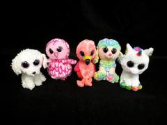 Lot Of Five Ty Beanie Boos Plush Toys Gilda Pixy Pippie Rainbow Pinky