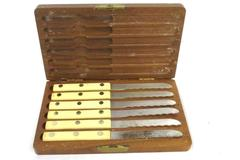 Simmons Vintage Steak Knife Set of 6 Original Wooden Box Stainless Finish Blade