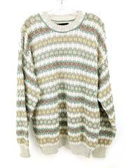 Vtg SAKS FIFTH AVENUE Sweater Crewneck 100% Cotton Multicolor 80s 90s Mens Lg