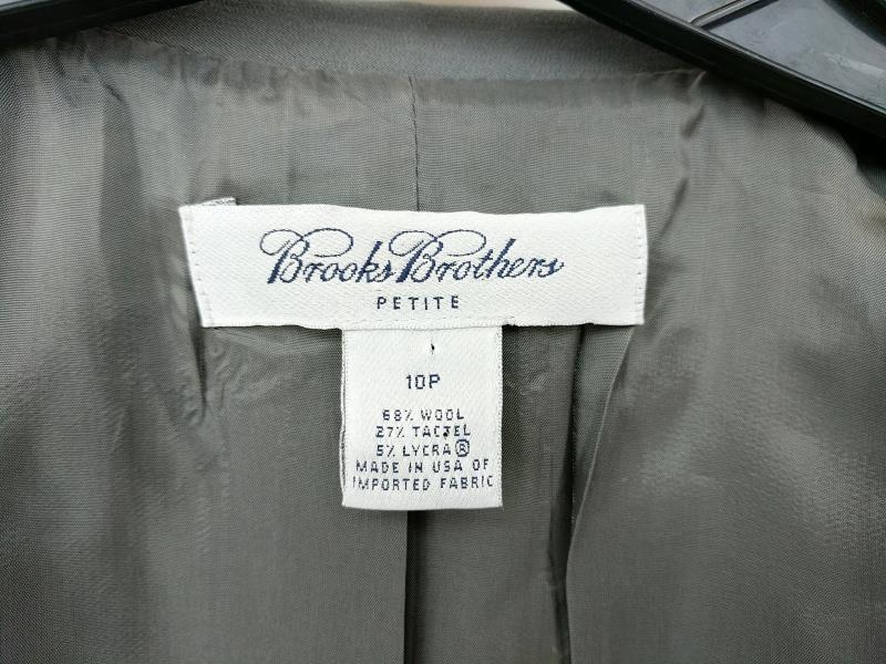 Brooks Brothers Zip Up Suit Jacket Gray Wool Blend Women's 10 Petite