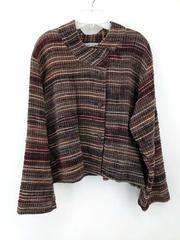 Yasuko Kurisaka Womens Woven Cotton Jacket Asymmetrical Lagenlook Brown Plus 2XL