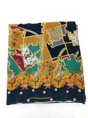 "Batik Fabric Black Multicolor Geometric Tribal Border Print 2yds x 45"" Wide"