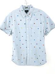New J CREW Slim Short-Sleeve Printed Oxford Shirt Blue Nautical Flag Men's Med