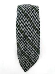 MICHELSONS Pure Shetland Wool Neck Tie Blue Green Houndstooth Plaid