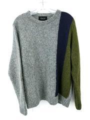 Howlin' Color Block Intarsia 100% Wool Sweater Crewneck Gray Mens Large