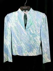 St John Evening Marie Gray Zip Blazer Formal Jacket Sparkle Blue Green Size 2
