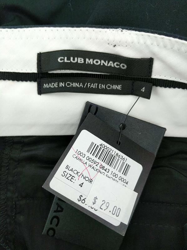 Club Monaco Camilla Walking Shorts Low Rise Black Bermuda Womens Size 4