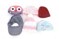 Lot of 6 Infant Baby Girl Hats Beanies Baseball Cap Owl Crochet Different Sizes