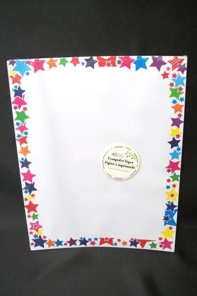 Lot of 2 Computer Printer Paper 40 Sheets Birthday Fun Balloon Stars Border