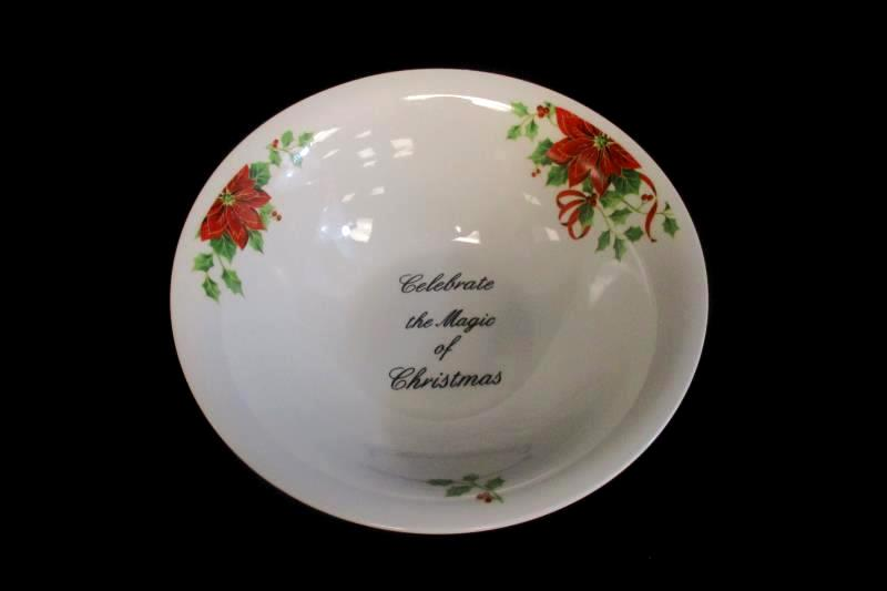 ATICO Serving Bowl Celebrate The Magic of Christmas Poinsettia Holly Berries