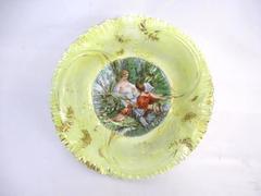 Vintage Yellow Porcelain Bowl Gold Gilt Ruffled Edge Painted Woman Man Garden
